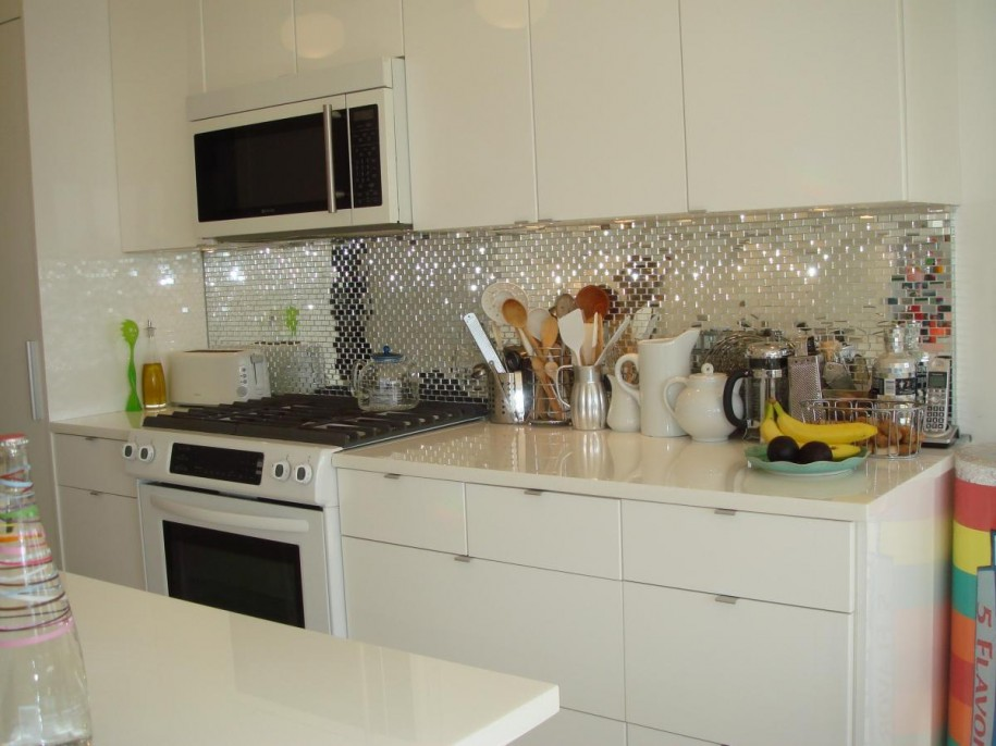 Delightful Kitchen Backsplash Ideas 2014 Part - 2: Wonderful-mirror-diy-kitchen-backsplash-ideas-915x686