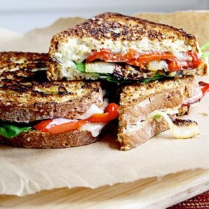 al fresco feast grilled cheese sandwich vegetable veggie pepper provolone cheese dining outside bbq grill2