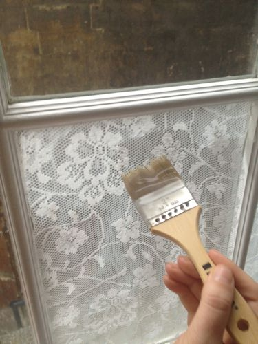 fabric on windows privacy screen diy easy cornstarch water paintbrush3