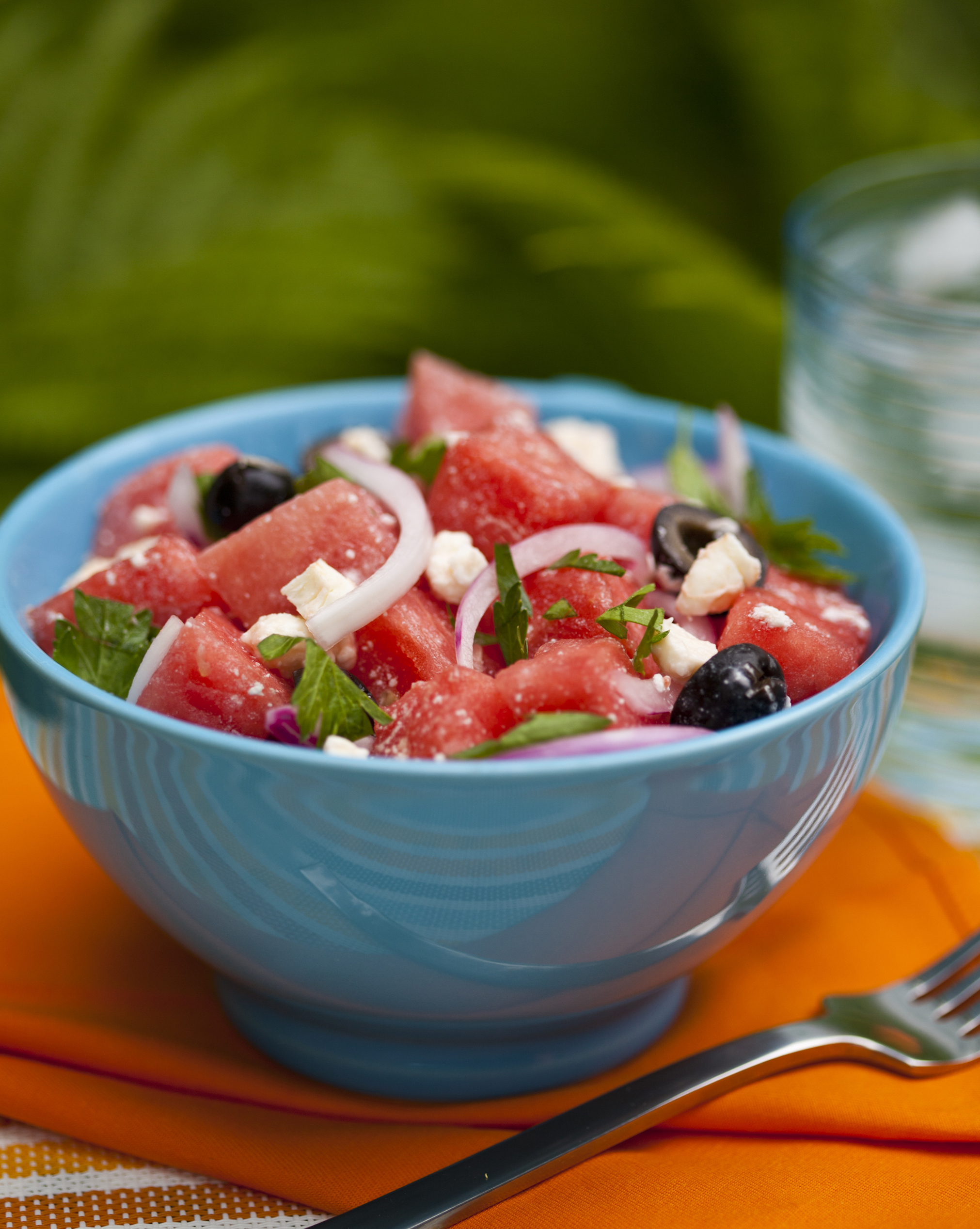 refreshing watermelon summer salad olives feta cheese onions mint leaves summer bbq snack healthy organic