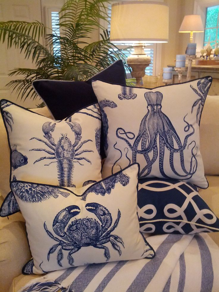 sea creature pillows watery decor decorating blues hue green livingroom