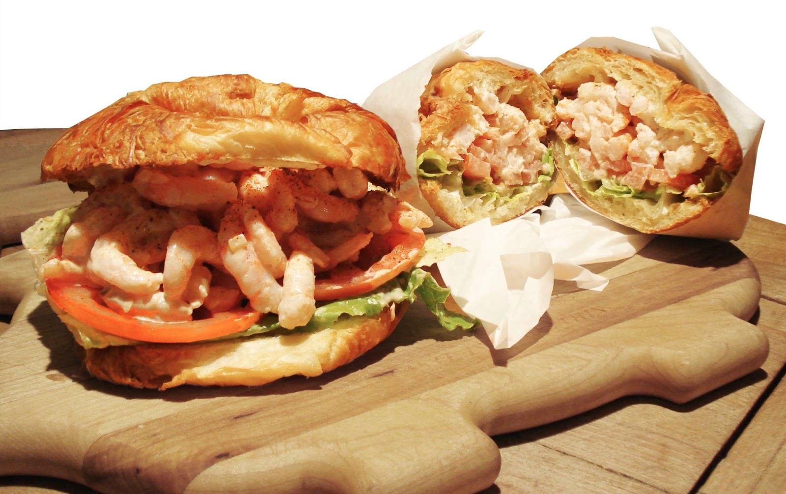 shrimp salad croissant sandwiches mayonnaise healthy tomatoes lettuce red onion