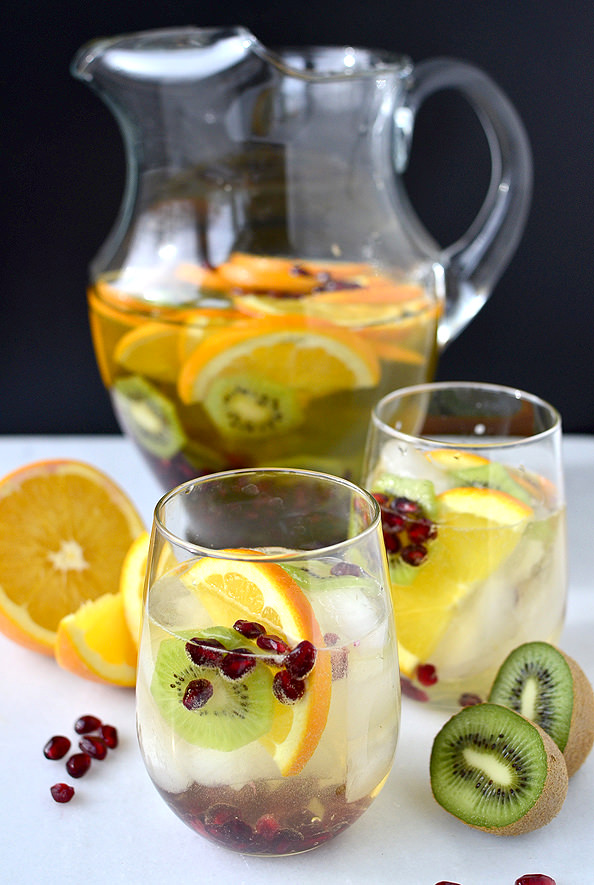 spiked sangria recipes party bbq fruit kiwi orange champagne fizzy
