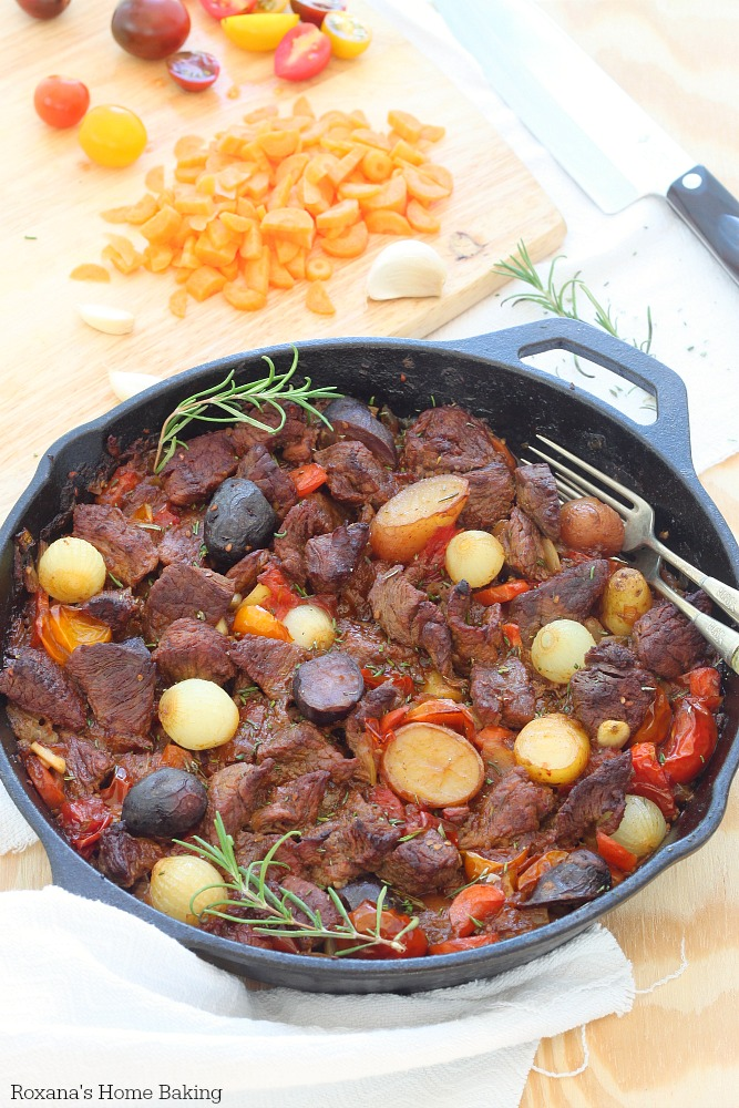 All in One Pot - Try This Deliciously Easy Beef Vegetable Stew celery carrots tomatoes tomato sauce beef stock onions easy weeknights delicious protein