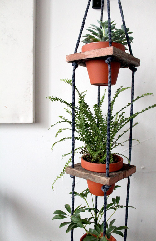 DIY- Tiered Hanging Pots scrap wood rope paint woodworking tools easy quick simple diy plants watering14
