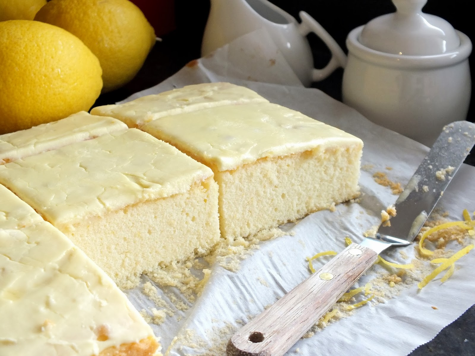 Refreshing Summer Lemon Velvet Cake Squares butter lemon dessert party birthday delicious baking