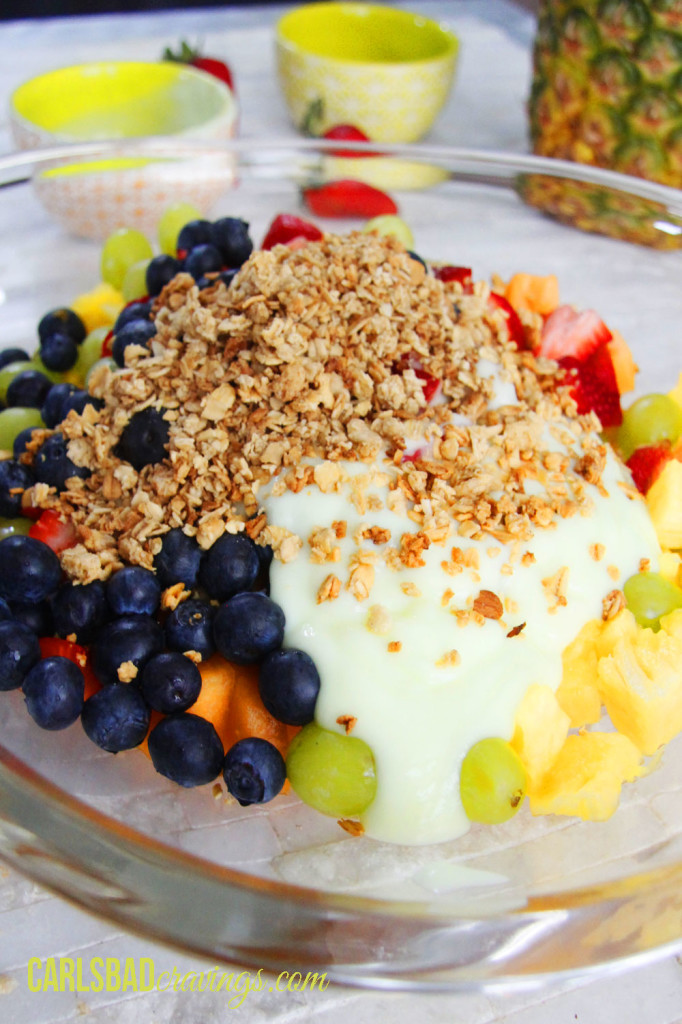 So Refreshing! - Healthy Summer Granola Fruit Salad blueberries grapes yogurt granola strawberries healthy summer diet easy no cooking