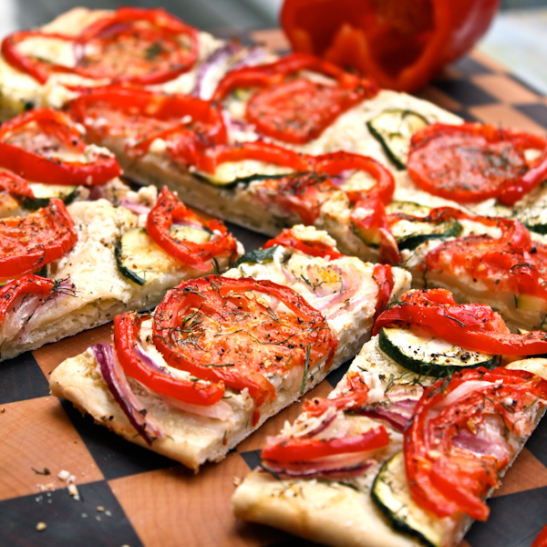 Great Summer Appetizer: Roasted Veggie Flatbread with Parmesan Cheese