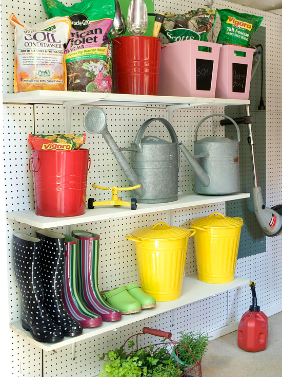 Oraganize Your Garage With These Simple Ideas and Storage Solutions shelves storage tidy organization1