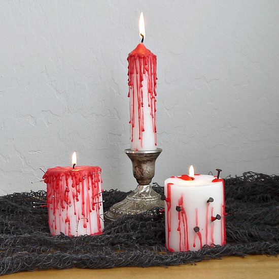 Creepy Halloween DIY- Dripping Bloody Candles dollar store cheap budget easy crayons1