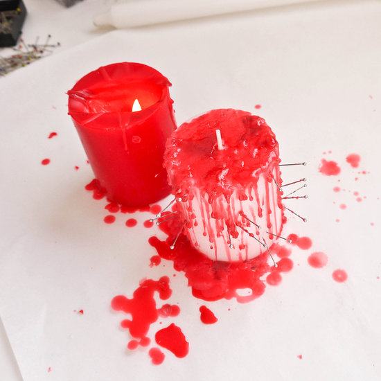 Creepy Halloween DIY- Dripping Bloody Candles dollar store cheap budget easy crayons4