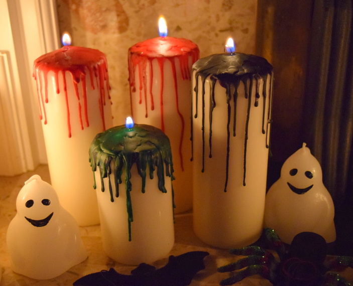 Creepy Halloween DIY- Dripping Bloody Candles dollar store cheap budget easy crayons7