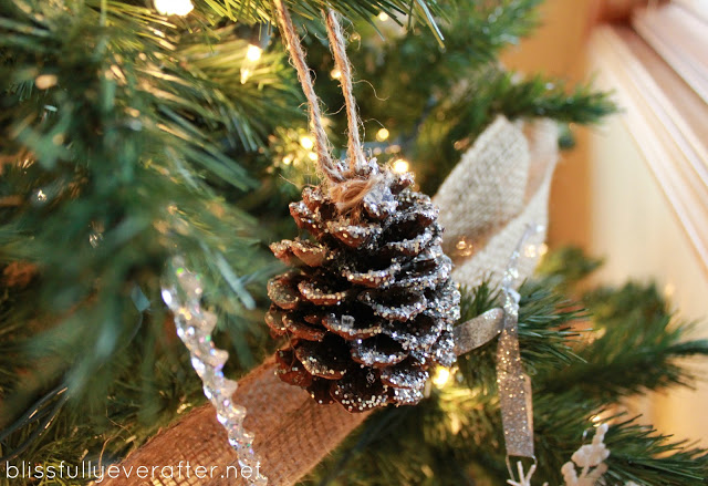 DIY: Glittery Pottery Barn Pinecones budget dollar store glitter cheap easy natural rustic4