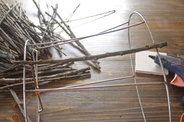 Make This Twig Lampshade For Fall! thrift store glue gun easy cheap diy budget decor autumn fall3