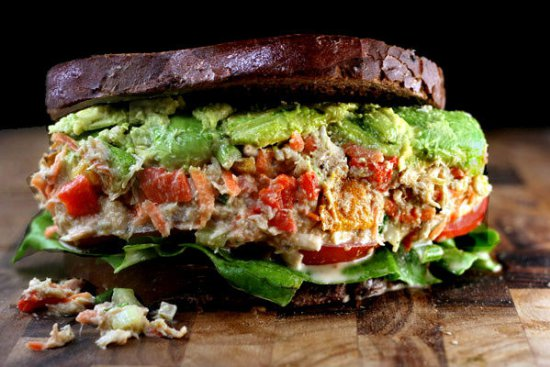The ULTIMATE Chicken or Tuna Salad Sandwich Recipe! - It's Delicious!! grilled peppers celery mayo greek ranch garlic1