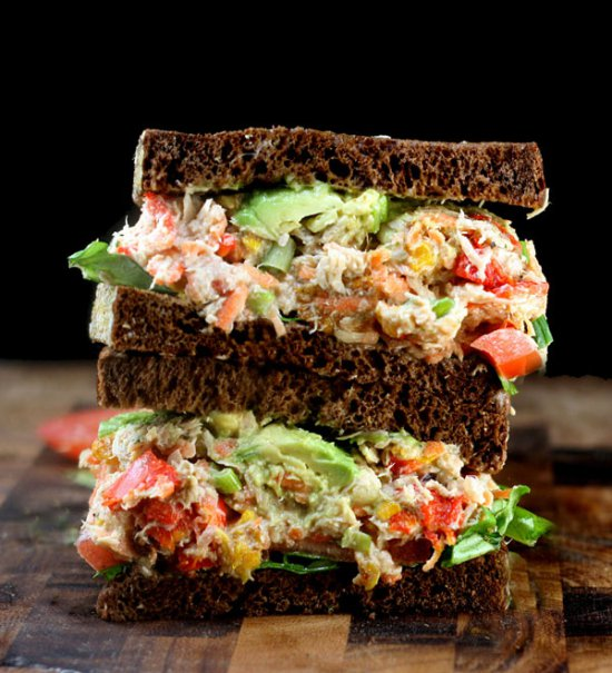 The ULTIMATE Chicken or Tuna Salad Sandwich Recipe! - It's Delicious!! grilled peppers celery mayo greek ranch garlic2