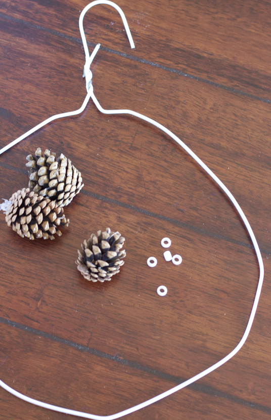 Holiday DIY: Easy Budget-Friendly Pine Cone Wreath christmas craft easy wire cheap3
