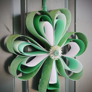 Dress Up Your Home For St. Patrick's Day by Making This Cute Wreath Out of Scrapbook Paper!9