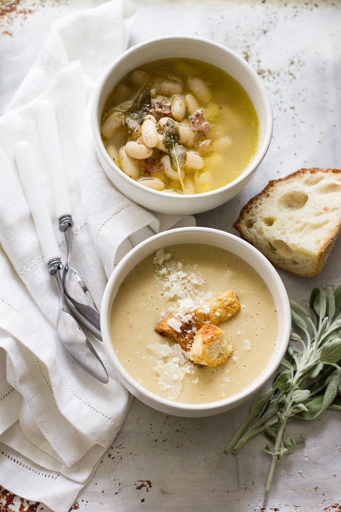 Warm Yourself Up These Cold Winter Nights With This White Bean Soup With Parmesean Cheese, Bacon, and Sage2