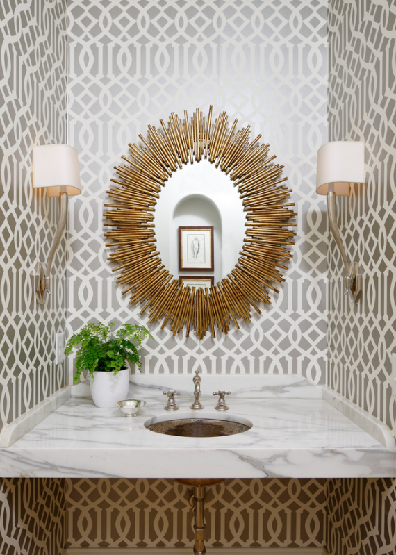 gold sunburst mirror bathroom decor