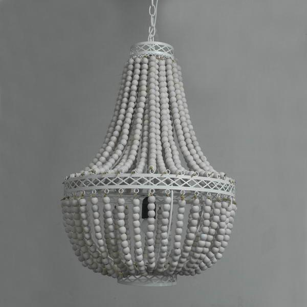 This rustic style Princess Grace collection chandelier is made from eco-frienldy wooden beads.