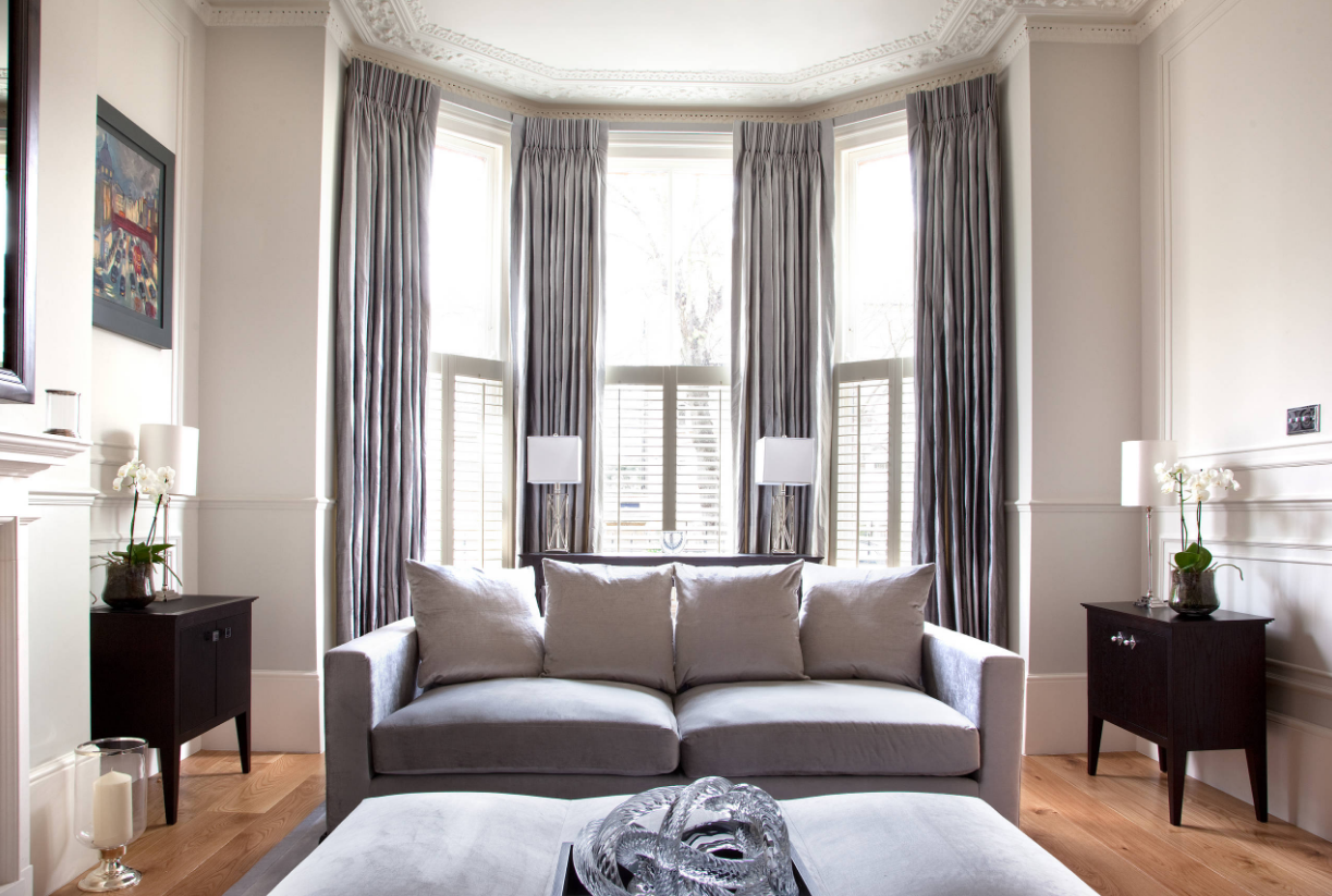How to dress up your windows and make them look elegant - Living room with bay window ...