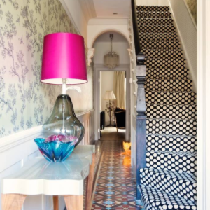 carpet-on-stairs-black-and-white-bohemian-decorating-ideas-pink-lamp
