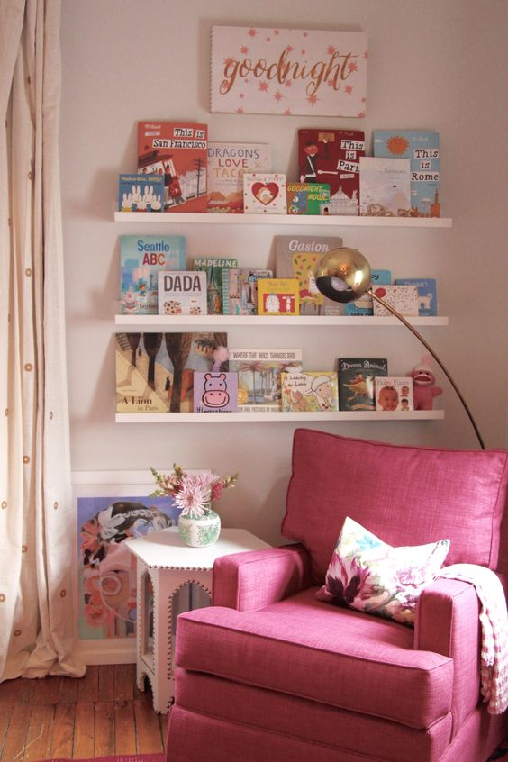 cute pink corner reading nook