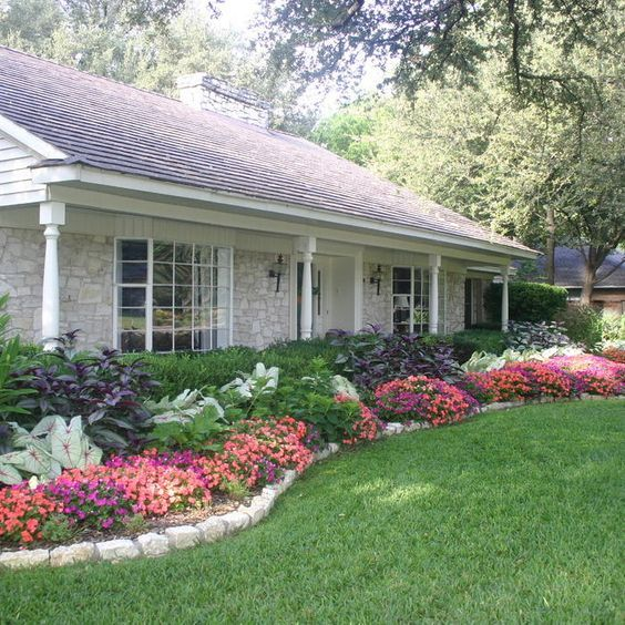 front yard lawn landscaping design flower bed