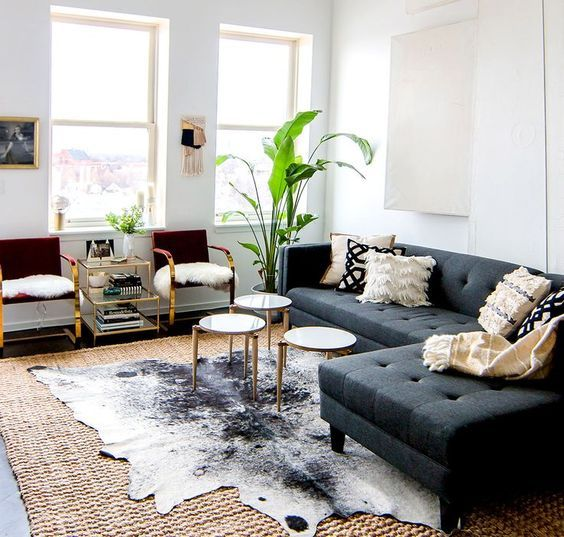 carpet layering decorating ideas living room cowhide sisal