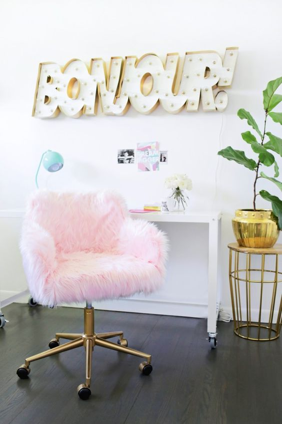 diy fluffy pink office chair decorating ideas cheap
