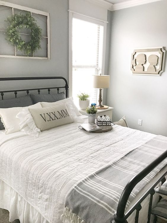 guest bedroom decorating ideas grey white color palette