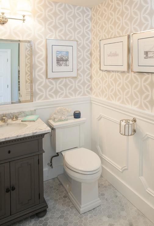 powder room decorating ideas marble tile floors moulding