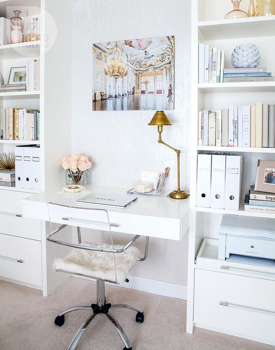 white office decorating chic ideas lucite acrylic chair