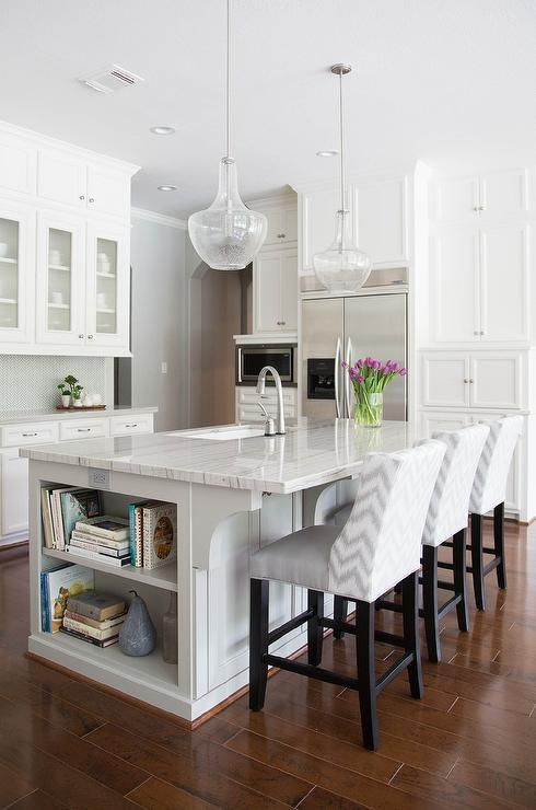 beautiful neutral white grey kitchen island