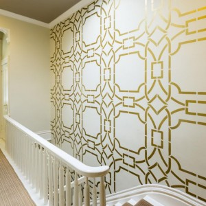 gold white cream wall painting techniques stencil ideas