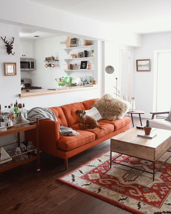 pretty cozy fall decorating ideas orange couch living room