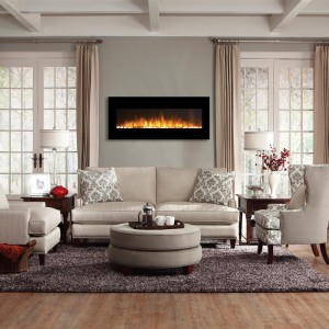 beautiful wall mounted fireplace