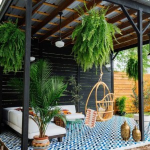 bohemian patio painted floor tiles ideas diy