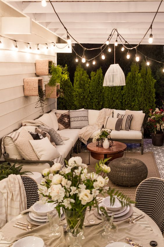 pretty string lights patio decor