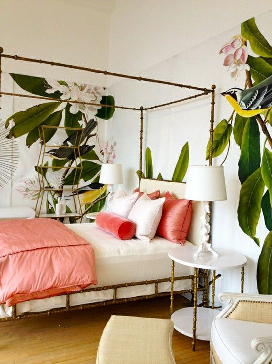 banana leaf bedroom decor ideas pink bed