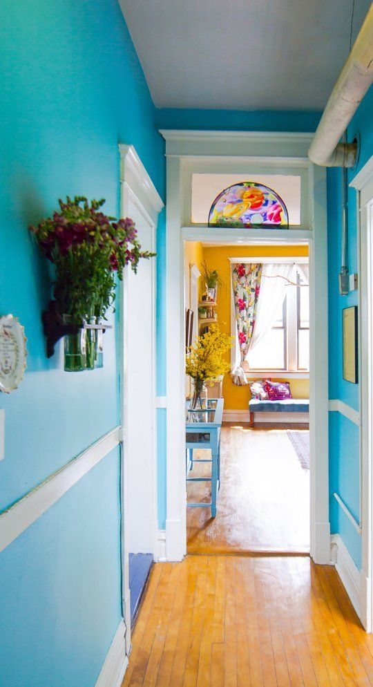 beautiful blue painted hallway colorful decor