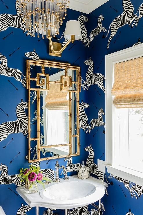 pretty-zebra-wallpaper-bathroom-gold-bamboo-mirror-ideas
