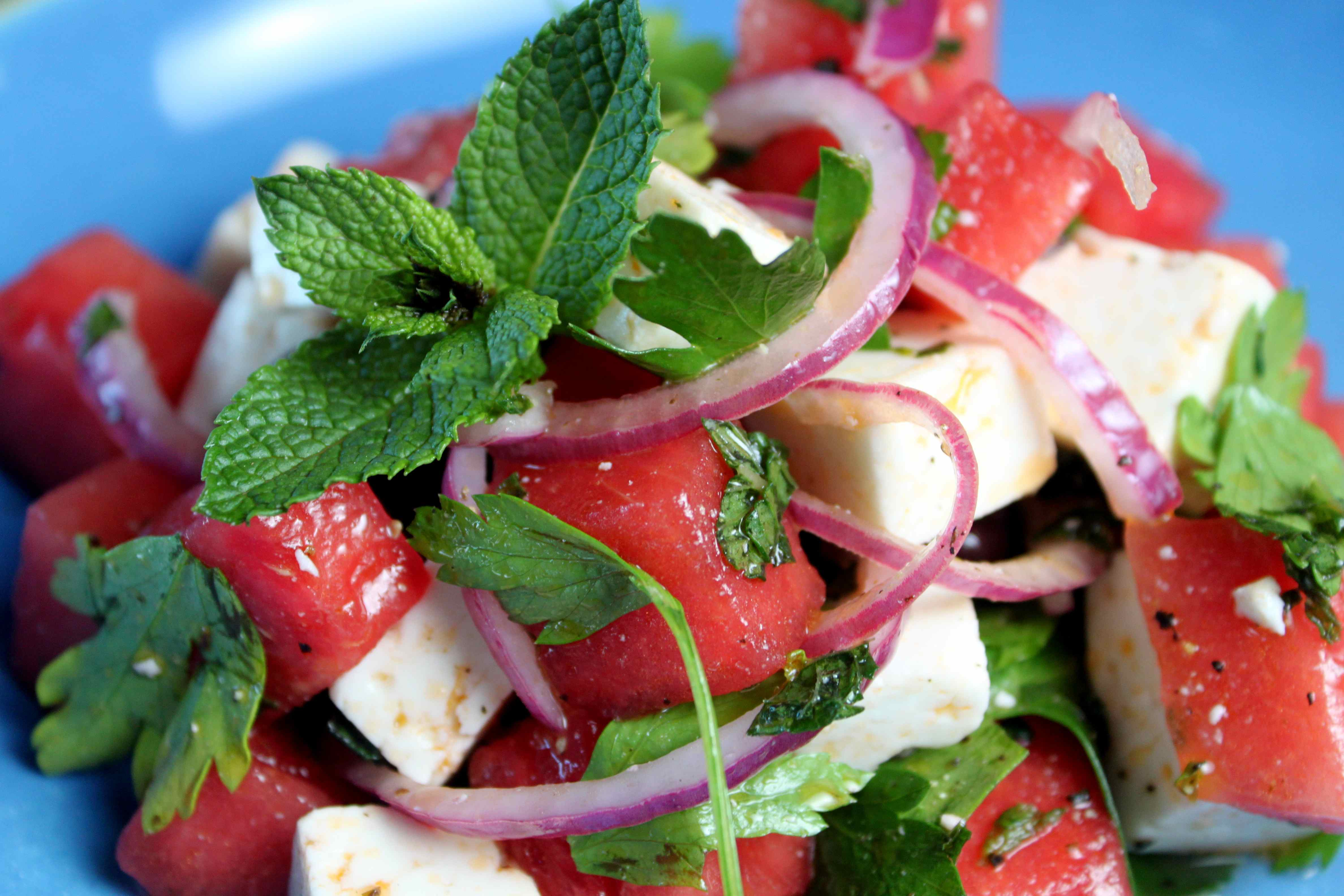 refreshing watermelon summer salad feta cheese mint leaves watermelons summer ice cold organic healthy onions
