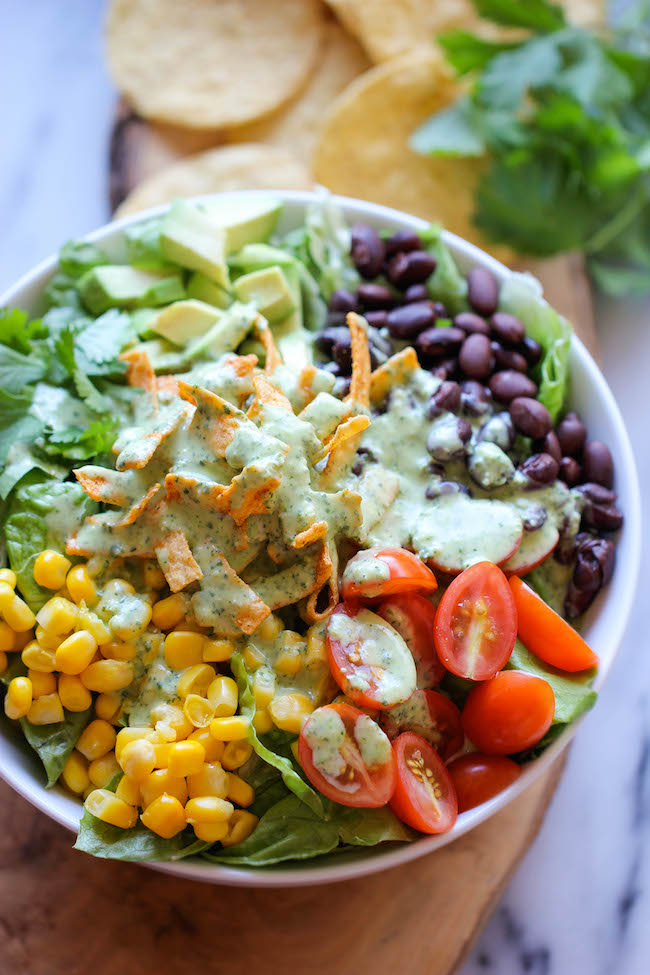 tex mex southwestern salad cilantro lime dressing healthy vitamins diet olive oil greek yogurt corn tomatoes romaine lettuce black beans