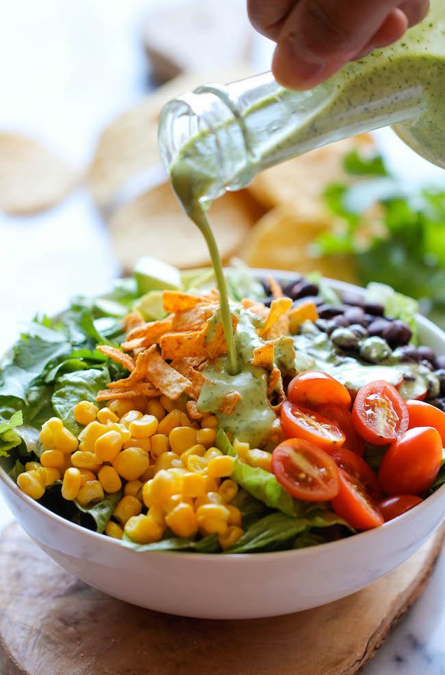 tex mex southwestern salad corn tomatoes cilantro tortilla strips healthy diet greek yogurt