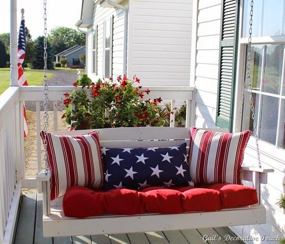 Celebrate Independance Day with these Patriotic Porch Decor Ideas flags diy budget shutter tissue paper firecrackers flowers pillows plants accessories party bbq get together patriotic july 4th5