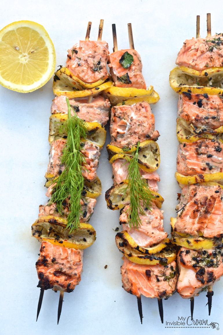 Citrus Grilled Salmon Barbeque Kabobs bbq summer party healthy ginger soy sauce pepper bamboo sticks easy diet4
