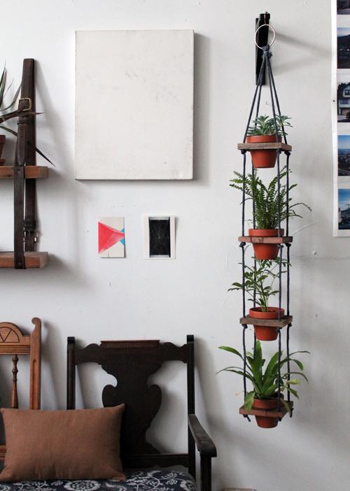 DIY- Tiered Hanging Pots scrap wood rope paint woodworking tools easy quick simple diy plants watering1