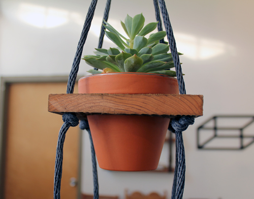 DIY- Tiered Hanging Pots scrap wood rope paint woodworking tools easy quick simple diy plants watering11